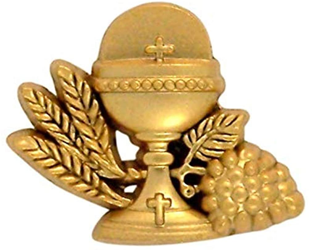 Needzo Gold Tone IHS Chalice First Communion Lapel Pin, 3/4 Inch