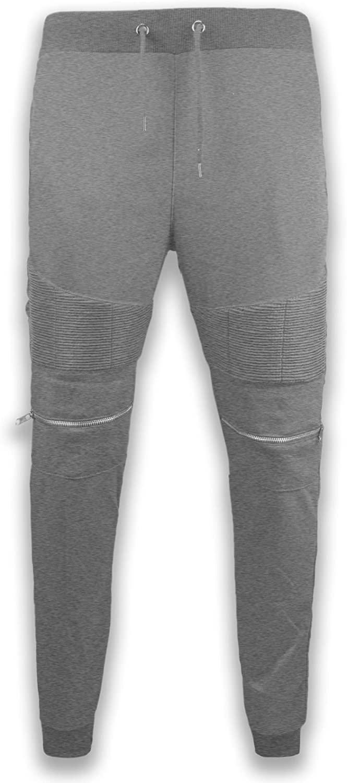 Trending Apparel New Men Biker Fleece Stacked Jogger Pants Knee Zipper 3 Pockets Elastic Waist