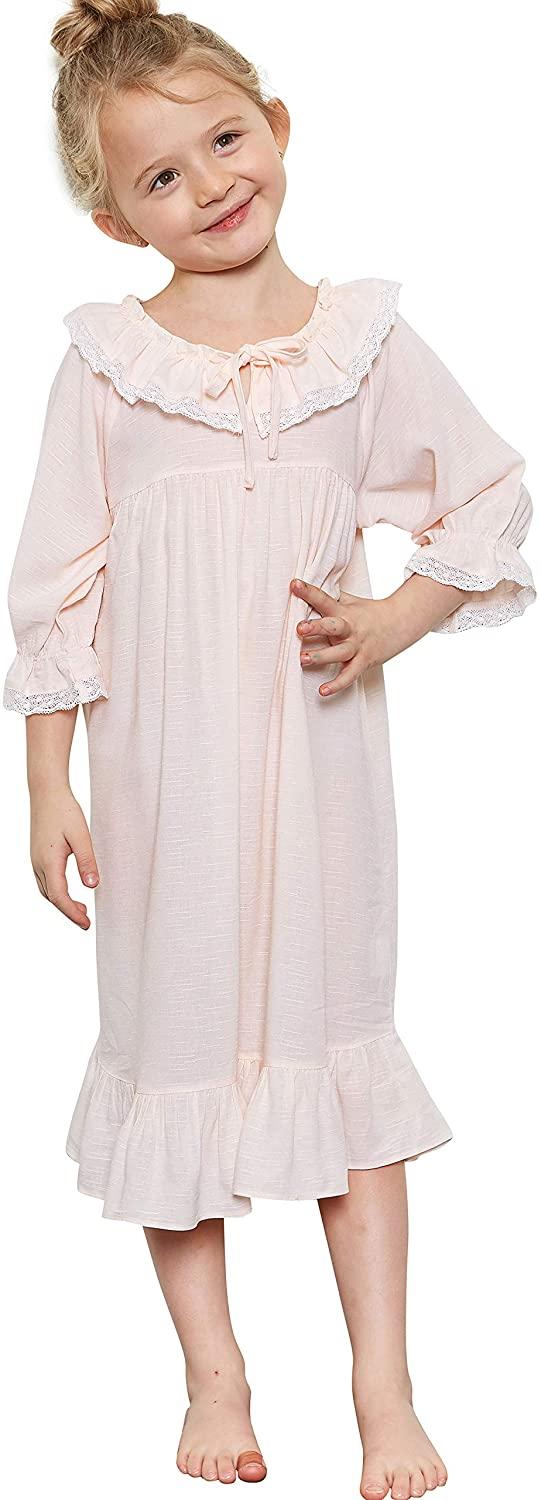 orcite Girls Nightgowns Size 2t - 14 Years Toddler Little Big Girl Kids Long Princess Pajamas Vintage PJS