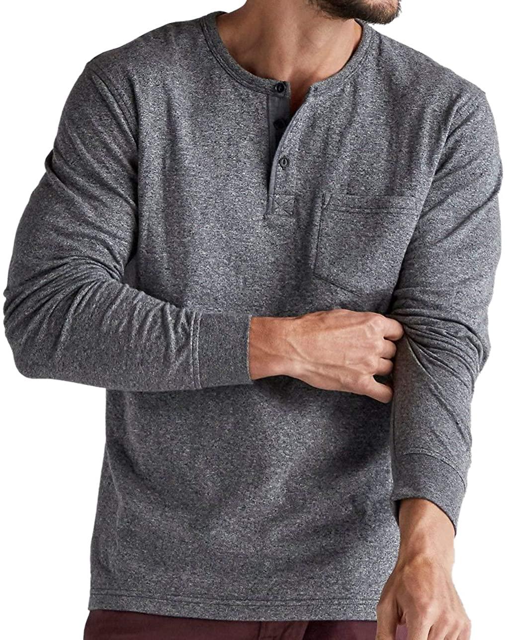 Lucky Brand Men's 7MDK020 Jaspe Henley Shirt, 001 Black