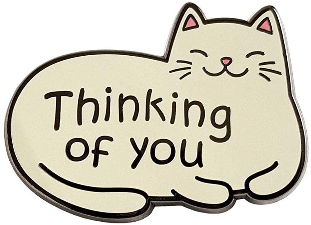 Pinsanity Cute Cat 'Thinking Of You' Enamel Lapel Pin