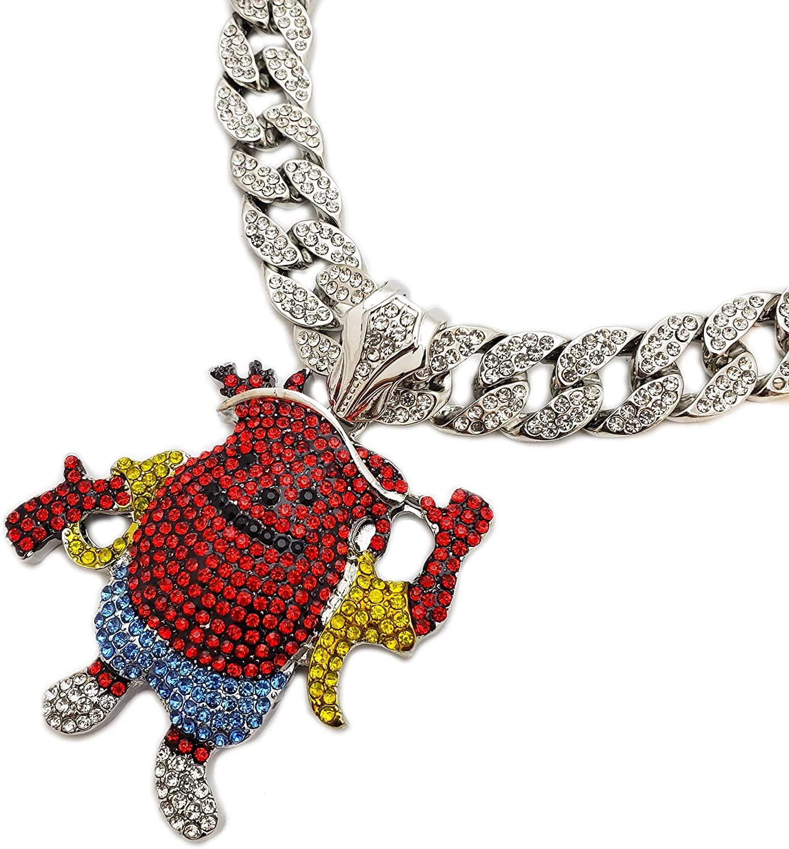 BLINGFACTORY Hip Hop Iced Kool AID Man Pendant & 18