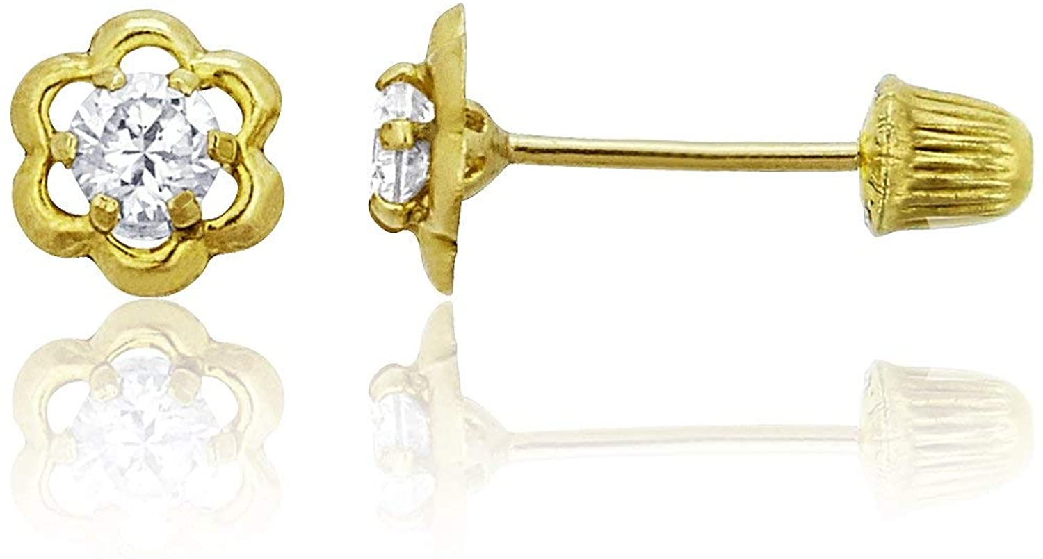 14K Yellow Gold High Polished Small Open French Flower Hat Screw Back Stud Earring