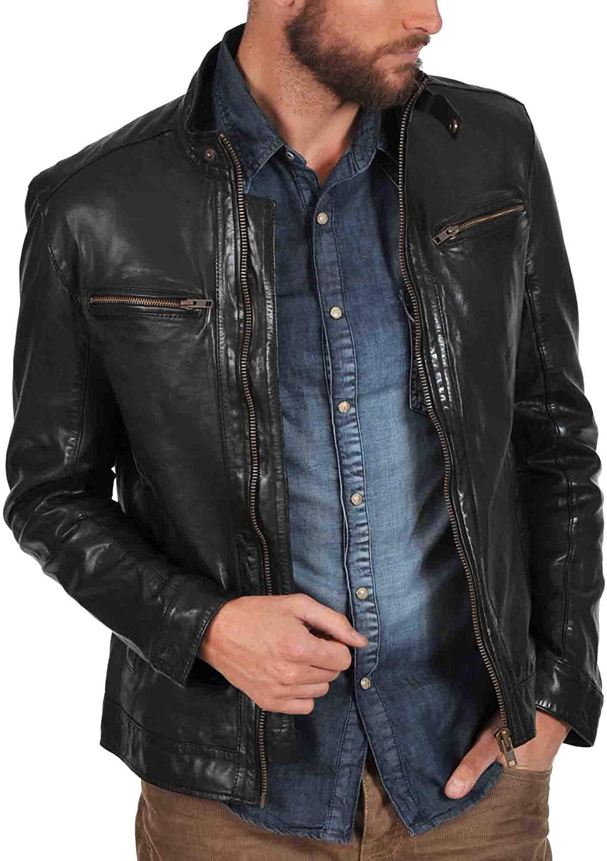 Mens Genuine Lambskin Leather Jacket MJ 119