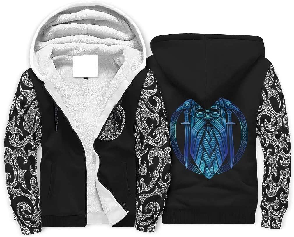 Sheeouis Mens Long Sleeve Zipper Viking Print Fleece Sherpa Sweater Jacket Warm Thick Hoodie Jacket Coats S-3XL White 2XL