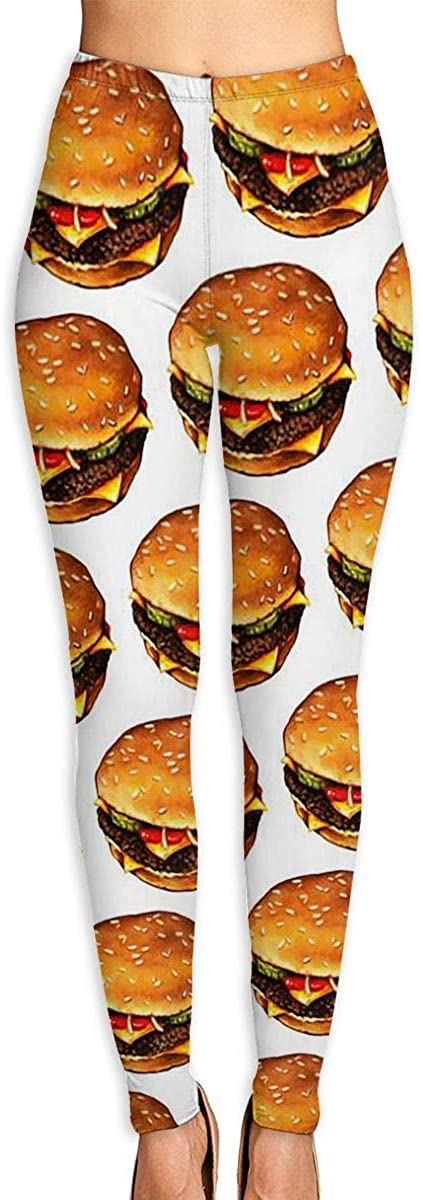 Apuiutw Cheese Burger Women Funny Print Yoga Leggings Pants Workout Fitness Pants Sports Gym Yoga Quick Dry Capri Leggings