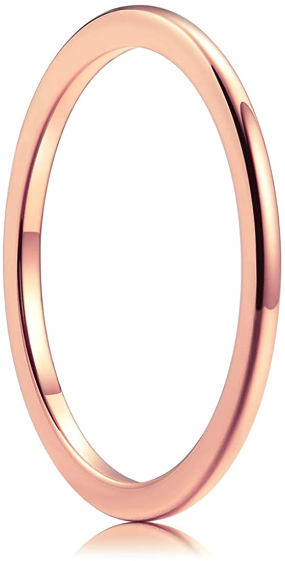 King Will Basic Men's 1mm Silver/Gold/Rose Gold Polished Tungsten Carbide Ring Coated Wedding Band