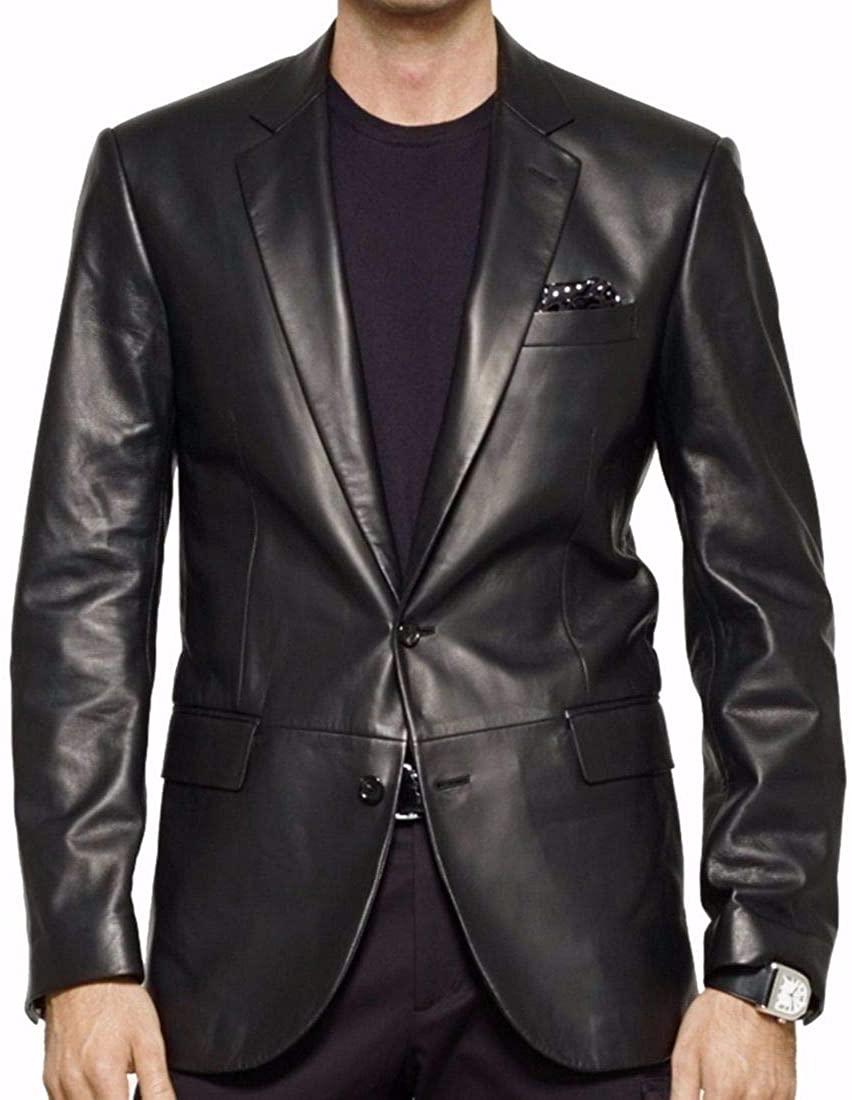 New Fashion Style Men's Leather Slim Fit Casual Blazer Jacket (Black)