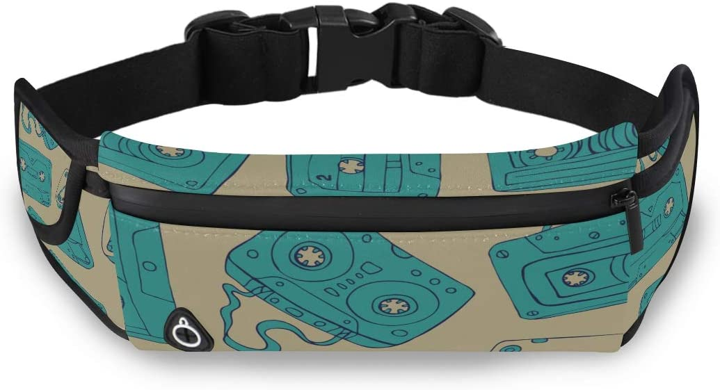 Ancient Collection Music Tape Waist Pack Zipper Toddler Waist Pack Fashion Workout Bags With Adjustable Strap For Workout Traveling Running