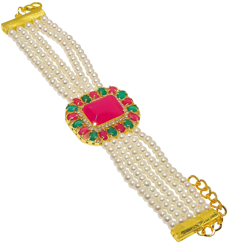 Jewar Single Hand Bracelet Hath-Phool Gold Plated Pearl Emerald Ruby Ad Cz Real Look Multi-Gemstone Designer Jewelry for Women & Girls 8308