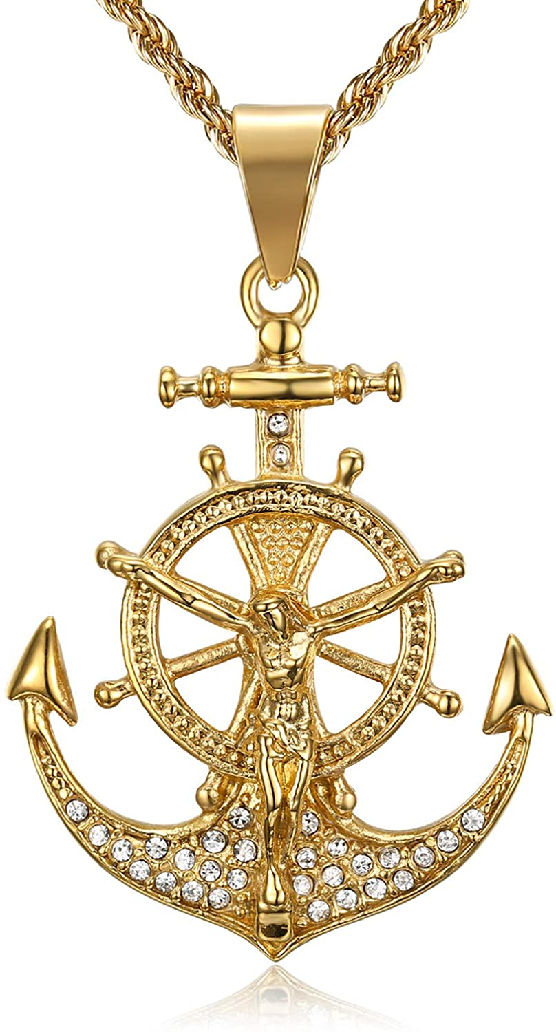 Lee Island Fashion 24K Gold Plated CZ Lord Jesus With Vintage Nautical Anchor Pendant Stainless Steel Necklace For Men Boys, 24 Inch Chain Crucifix Cross Catholic Christian Jewelry