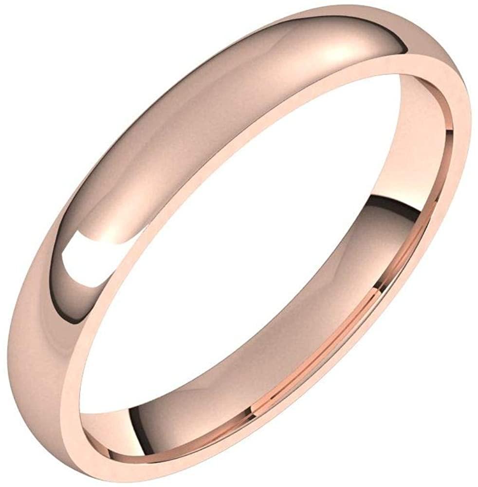 Solid 18K Rose Gold 3mm Half Round Comfort Fit Light Wedding Band Size 4