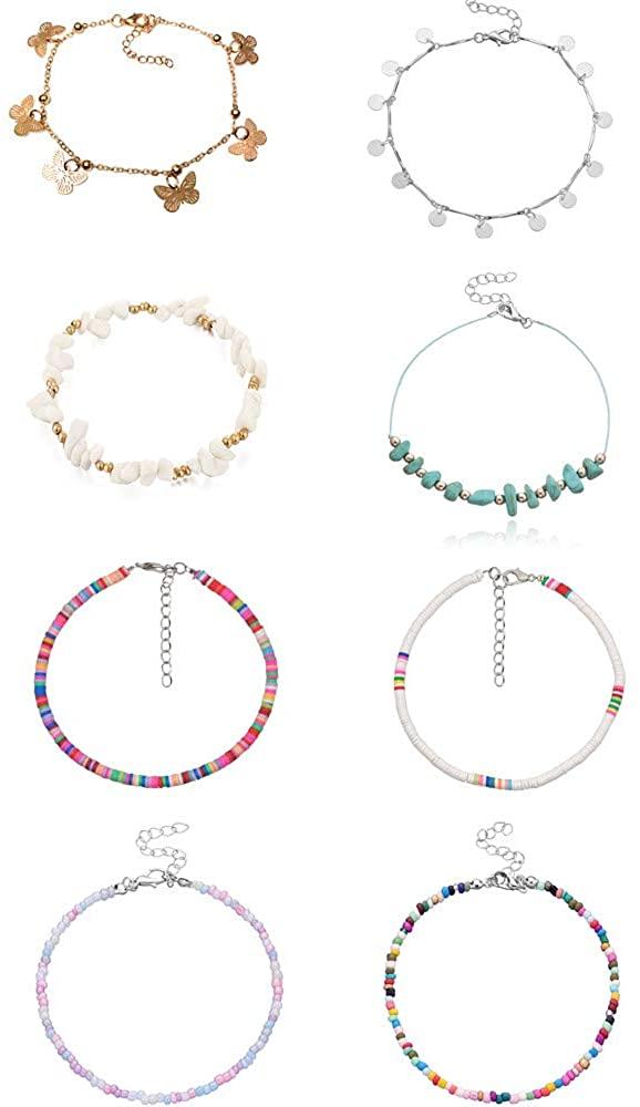 Handmade Flower Beaded Chain Link Adjustable Foot Anklets Bracelet Set for Women Girls Jewelry Boho Colorful Beads Summer Beach