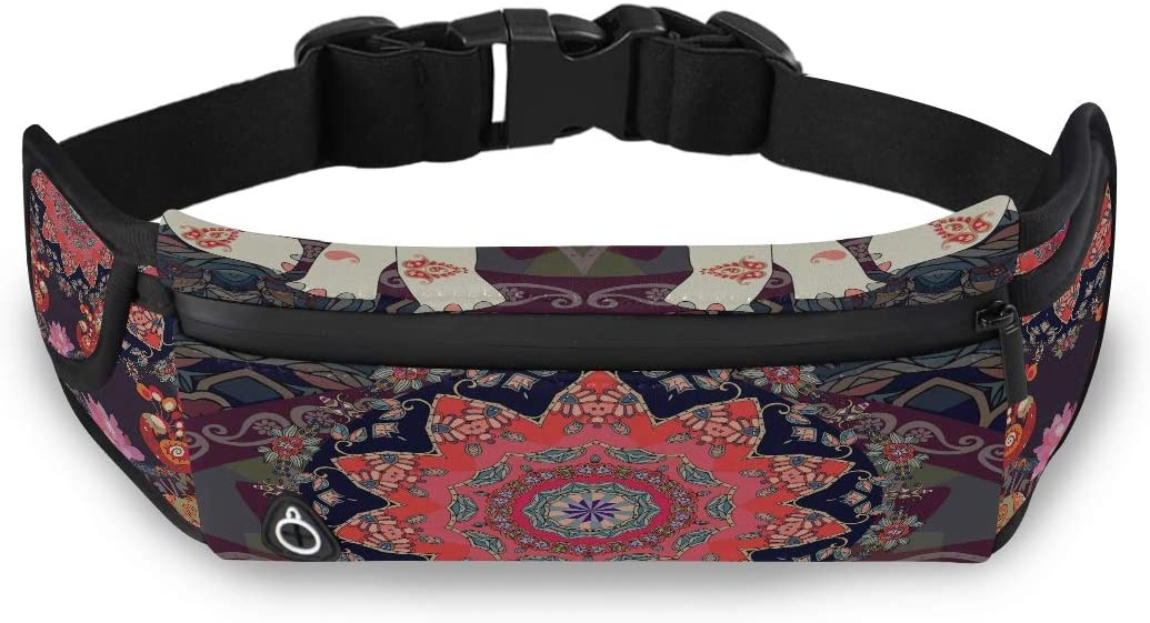 Ornamental Pattern Square Greeting Card Zip Waist Pack Waisted Pack For Men Bags For Women Fashion With Adjustable Strap For Workout Traveling Running