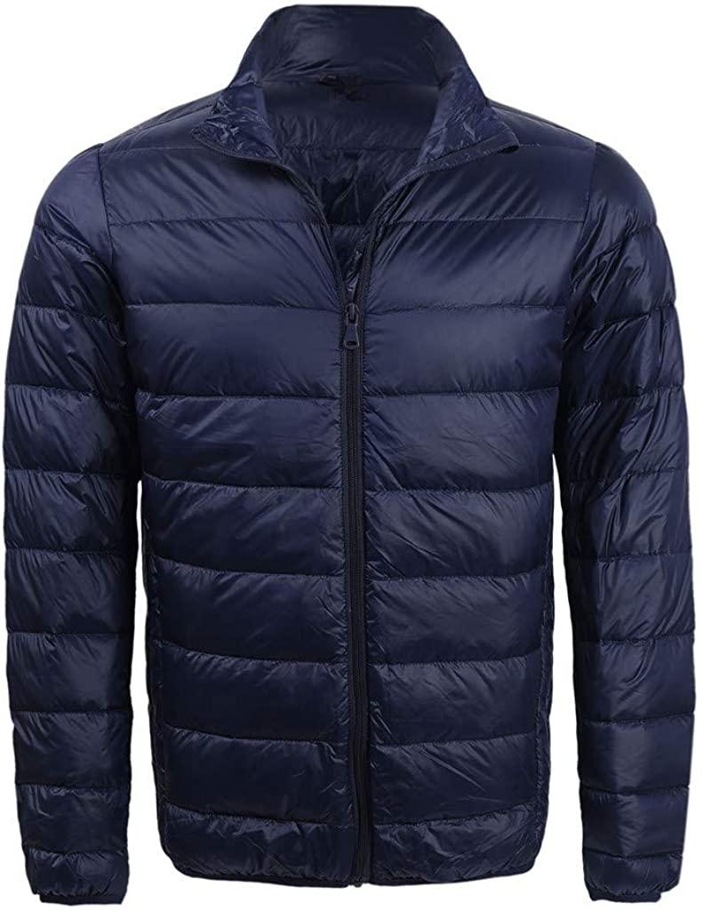 Hiheart Mens Winter Packable Standing Collar Lightweight Down Jacket