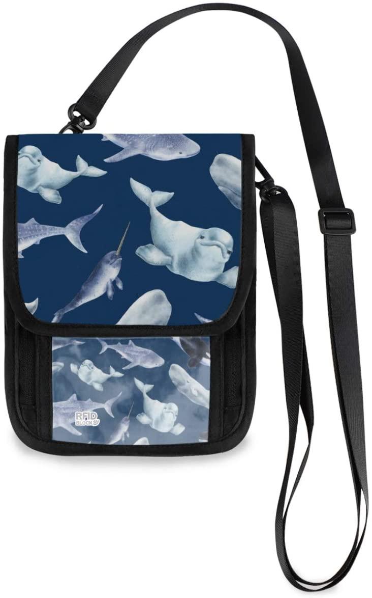 Travel Neck Pouch Neck Wallet - Whales On Dark Blue Marine Passport Holder with RFID Blocking for Women Men Travel Purse