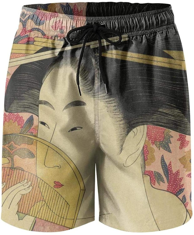 ZWEN Japanese Ukiyo Art Mens Swim Trunks Trendy Athletic Beachwear with Pockets Mesh Lining
