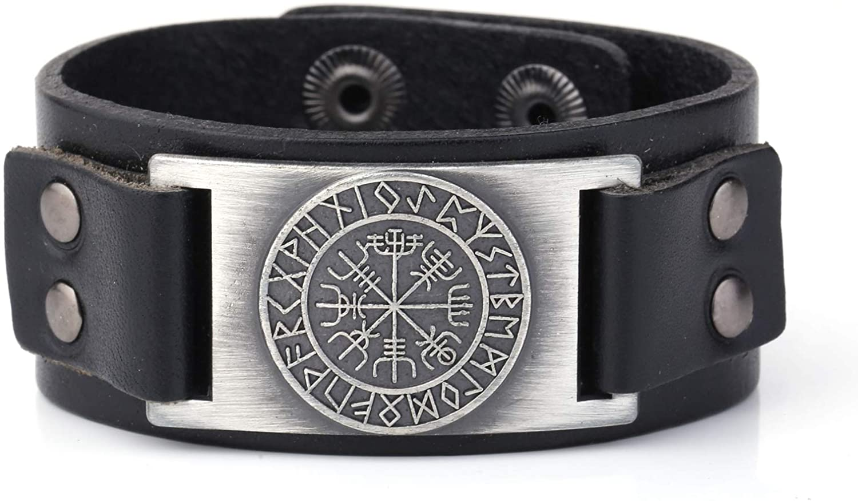 cooltime Retro Nordic Vegvisir Compass Motif Amulet Bracelet Hidden Safety Clasp Leather Bracelet