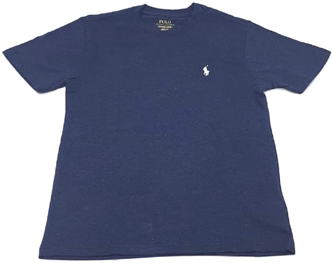 Polo Ralph Lauren Boys Crew Neck Pony Logo T-Shirt (X-Large, Navy Heather/White Pony)