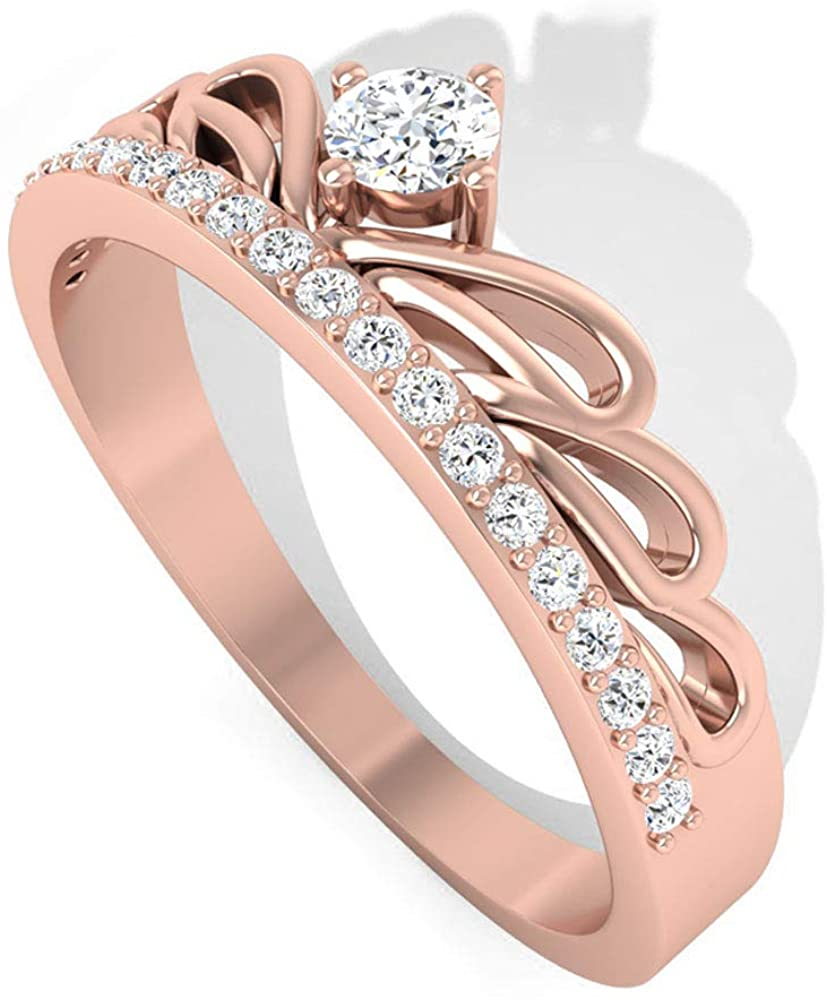 Solid 14K Gold IGI Certified Diamond Crown Engagement Ring, Art Deco Tiara IJ-SI Diamond Bridal Wedding Rings, Anniversary Promise Ring Set for Mother, 14K Rose Gold, Size:US 6.5