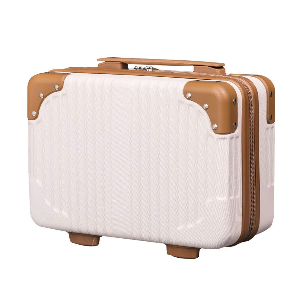 Lzttyee 14in Hard Shell Cosmetic Carrying Case Portable Travel Hand Luggage Suitcase (Beige)
