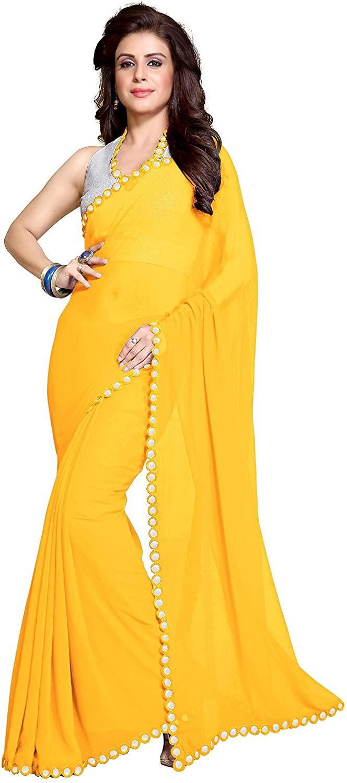 Sourbh Mirchi Fashion Women's Plastic Mirror Border Indian Saree Unstitched Blouse Piece