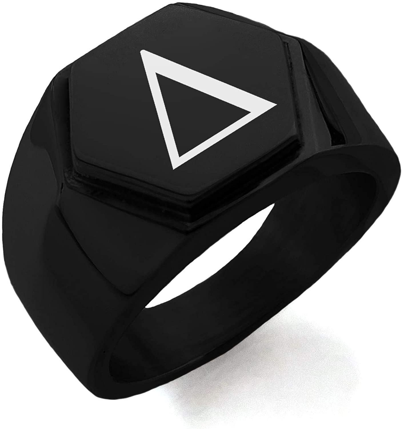 Stainless Steel Delta Mathematical Hexagon Crest Flat Top Biker Style Polished Ring