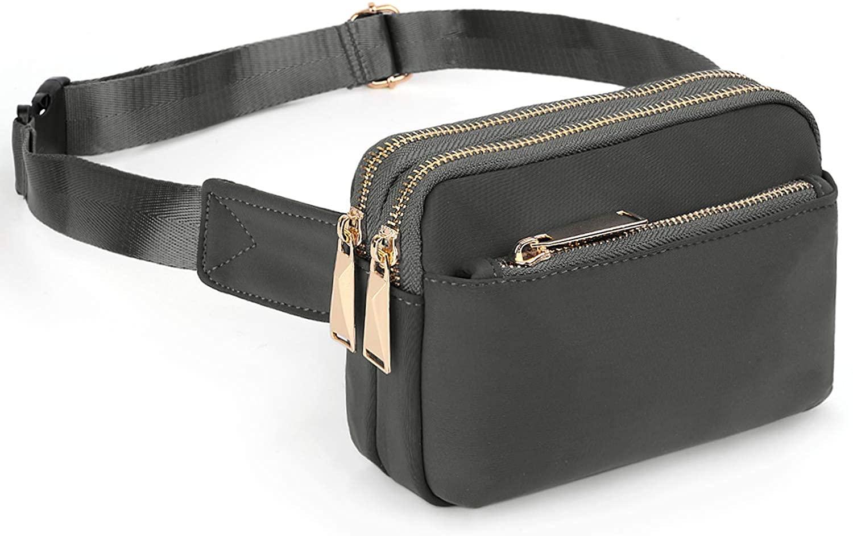 UTO Fanny Pack for Women Waterproof Nylon Fashion Slim Lightweight Waist Pack Bag with 3 Zipper Pockets