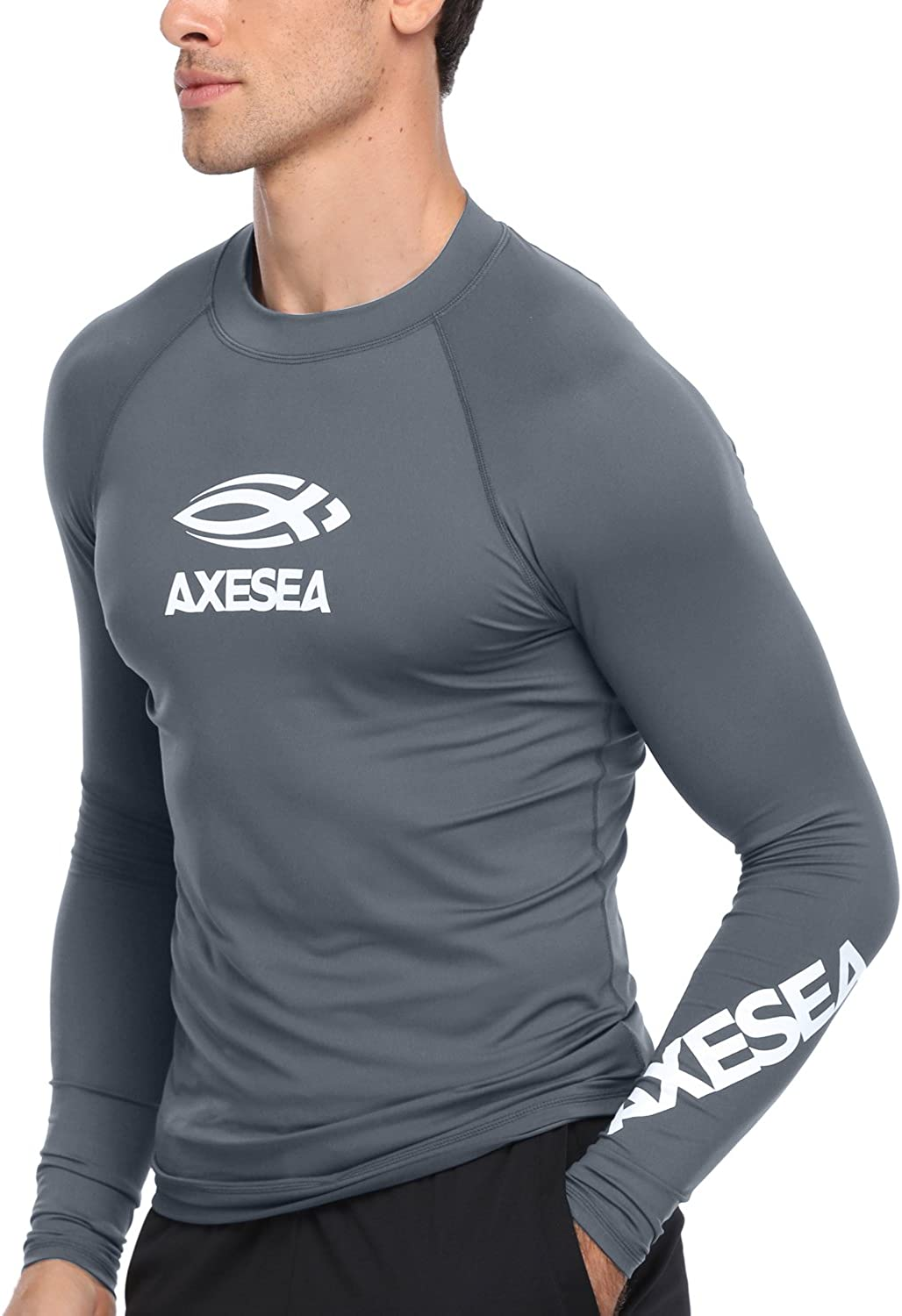AXESEA Men Long Sleeve Rashguard UPF 50+ Rash Guard Swim Shirt Athletic Swim Tops