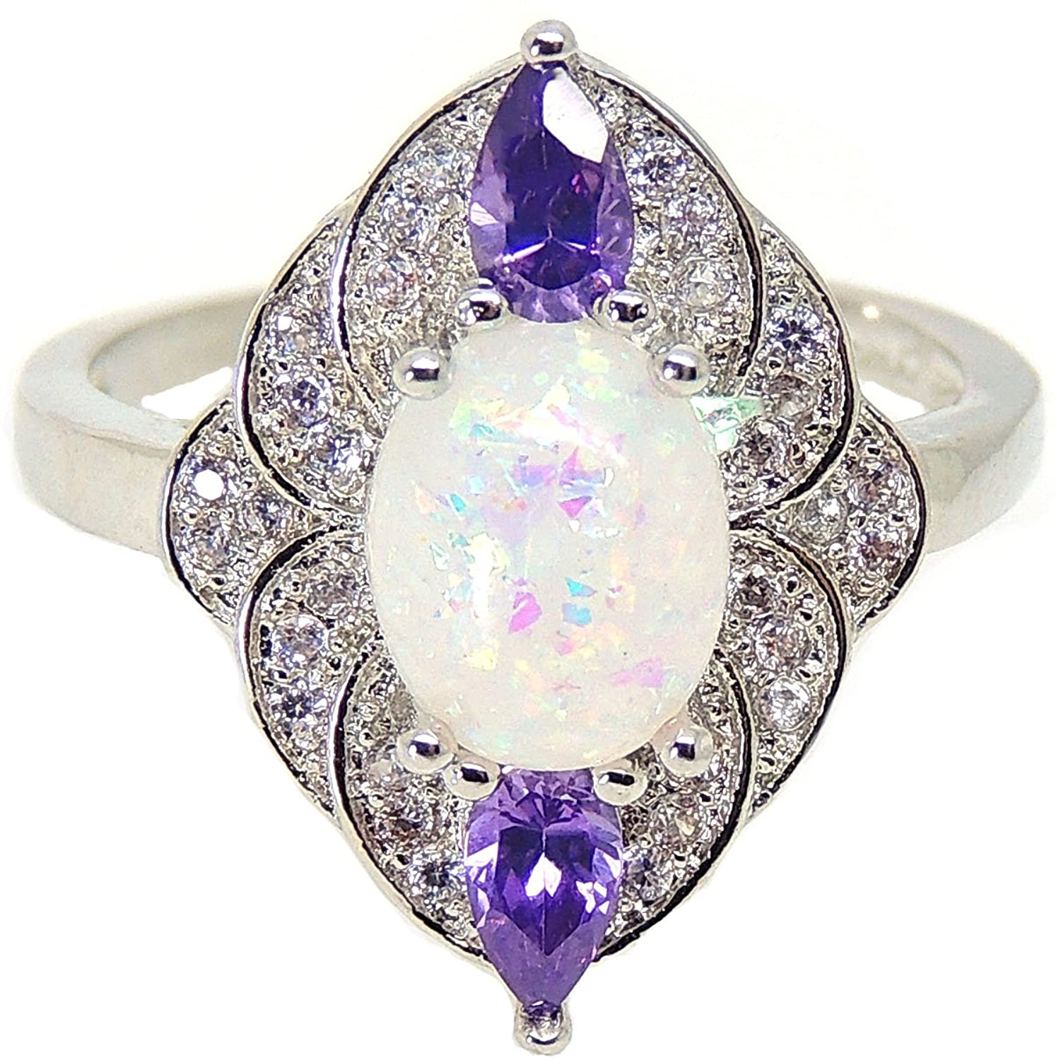 Ginger Lyne Collection Quinn Oval Shape Simulated Fire Opal Purple CZ Ring