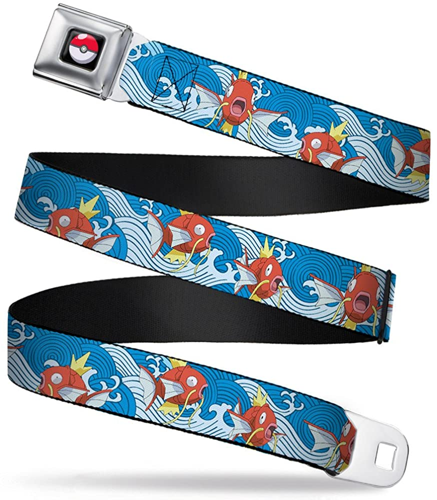 Buckle-Down Seatbelt Belt - Magikarp Poses/Waves Swirl Blue/White - 1.0