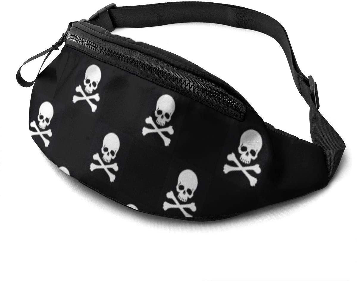 Skull Crossbones Black Fanny Pack For Men Women Waist Pack Bag With Headphone Jack And Zipper Pockets Adjustable Straps