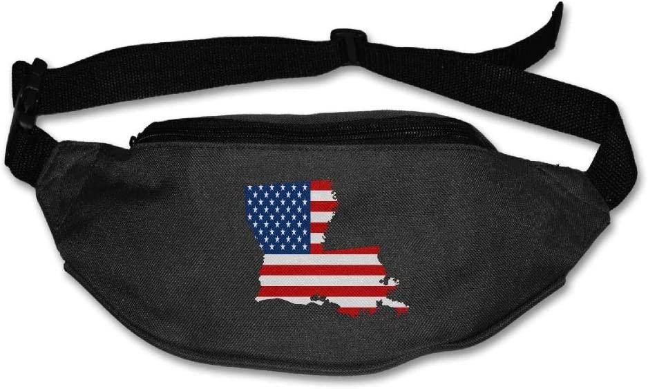 Eden Edies Louisiana State Map Shape The USA Flag Unisex Waist Pack Bag Belt