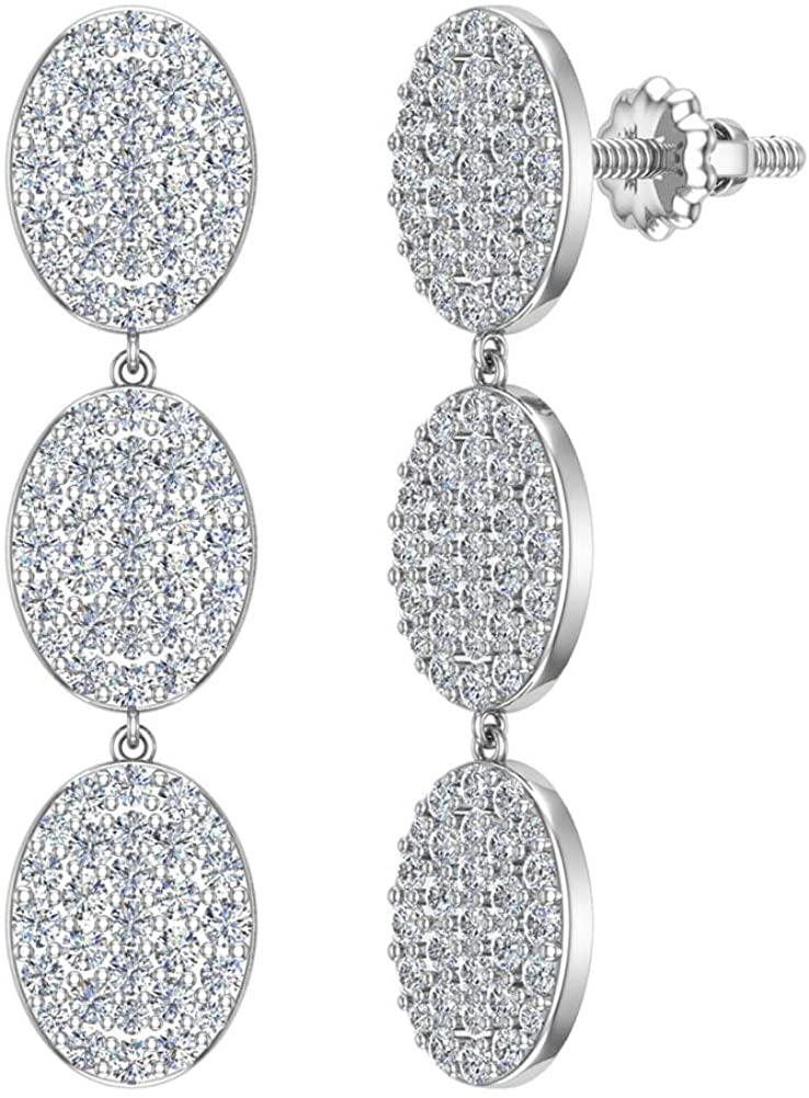 Oval Diamond Chandelier Earrings Waterfall Style 14K Gold