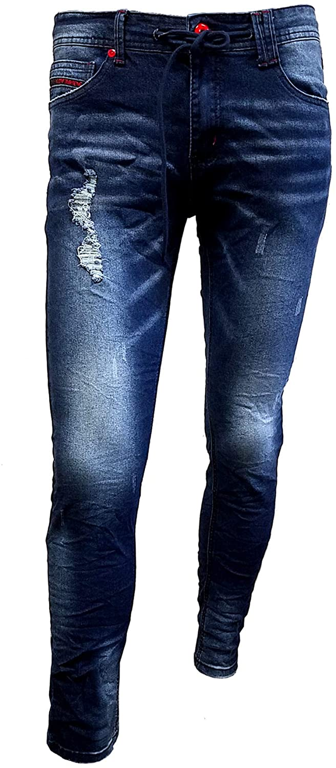 Chopp Shop Jeans - Men's Skinny Stretch Ripped Destroyed Denim Jeans with Waist Cord