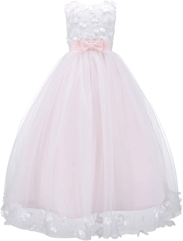 Bow Dream 3D Flower Girl's Dress Tulle Full Length Wedding Junior Bridesmaid Evening Formal Gown
