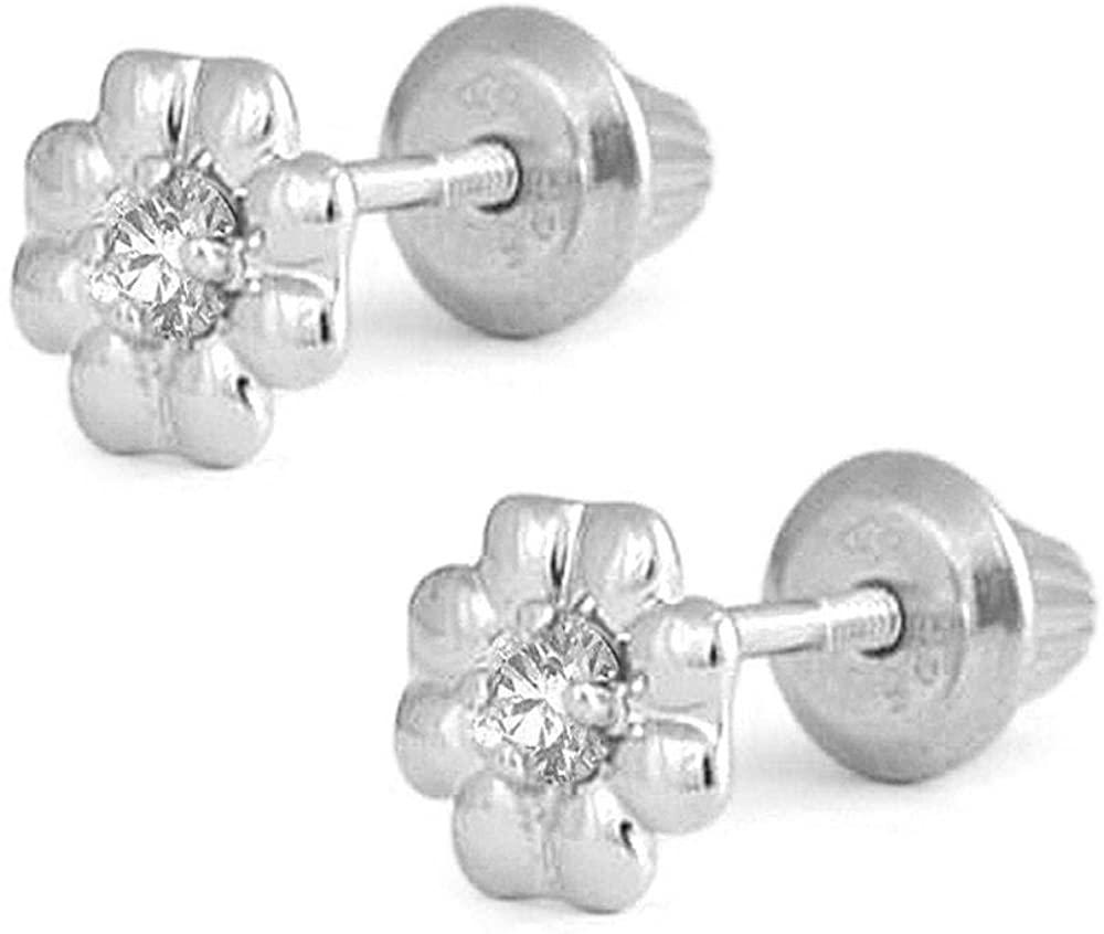 Sterling Silver Diamond Flower Screw Back Stud Earrings For Girls