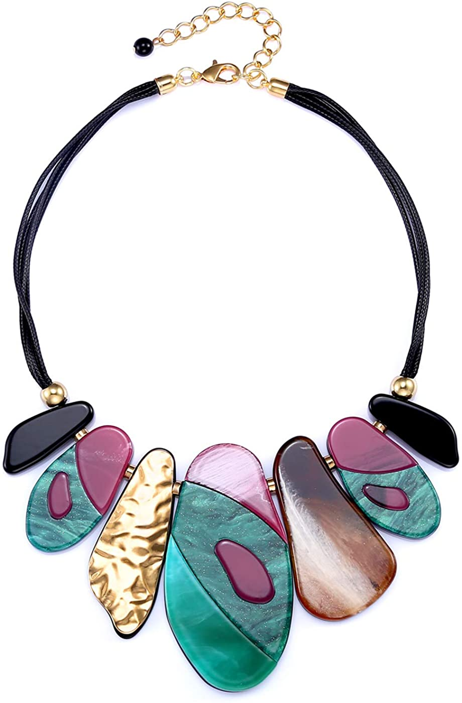 FAMARINE Vintage Tribe Chunky Collar Necklace, Geometry Acrylic Pendant Bib Statment Necklace Multicolor Costume Jewelry for Women