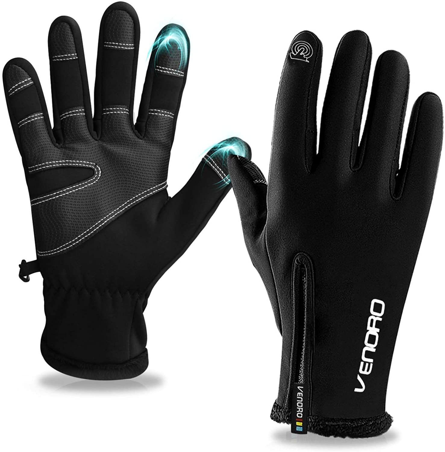 Winter Gloves, Tsuinz Touch Screen Gloves Warm Gloves Thermal Liner Waterproof for Running Driving Cycling Men Women