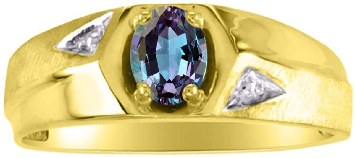 RYLOS Mens Ring with Oval Shape Gemstone in 14K Yellow Gold Plated Silver .925-6X4MM Color Stone Birthstone Rings