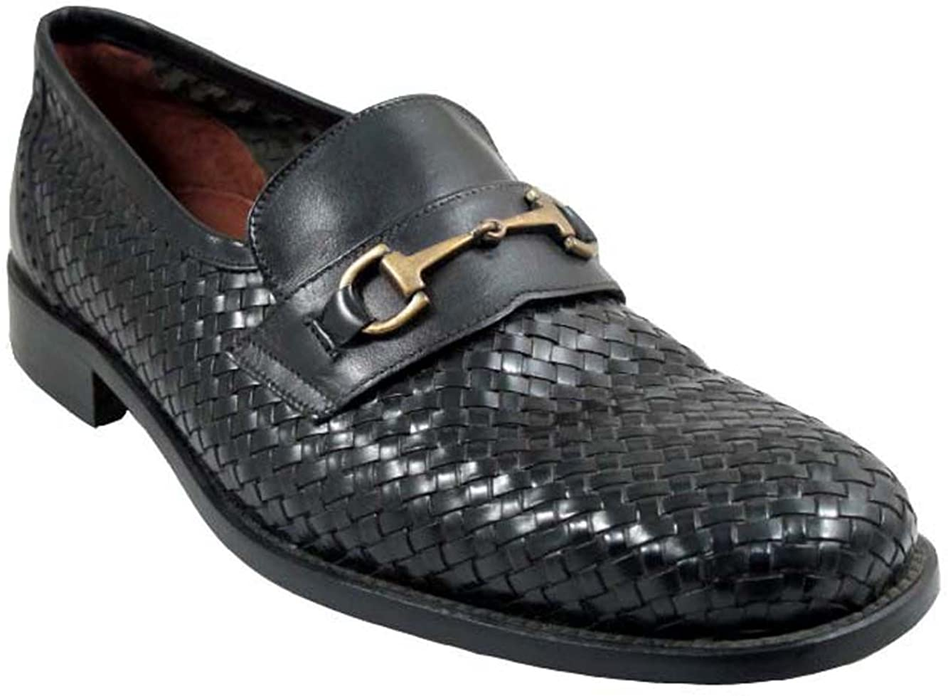 DaVinci Men's 4468 Woven Italian Leather Loafers with Buckle in Black