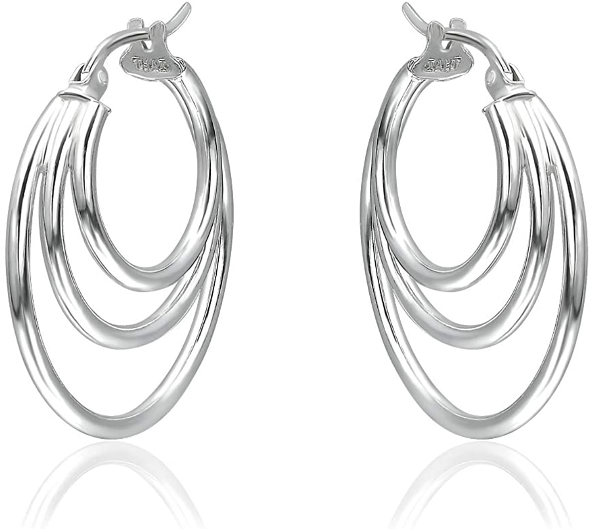 Sterling Silver Polished Finish Triple Circle Round-Tube Hoop Earrings for Women Teen Girls, 25mm Diameter.