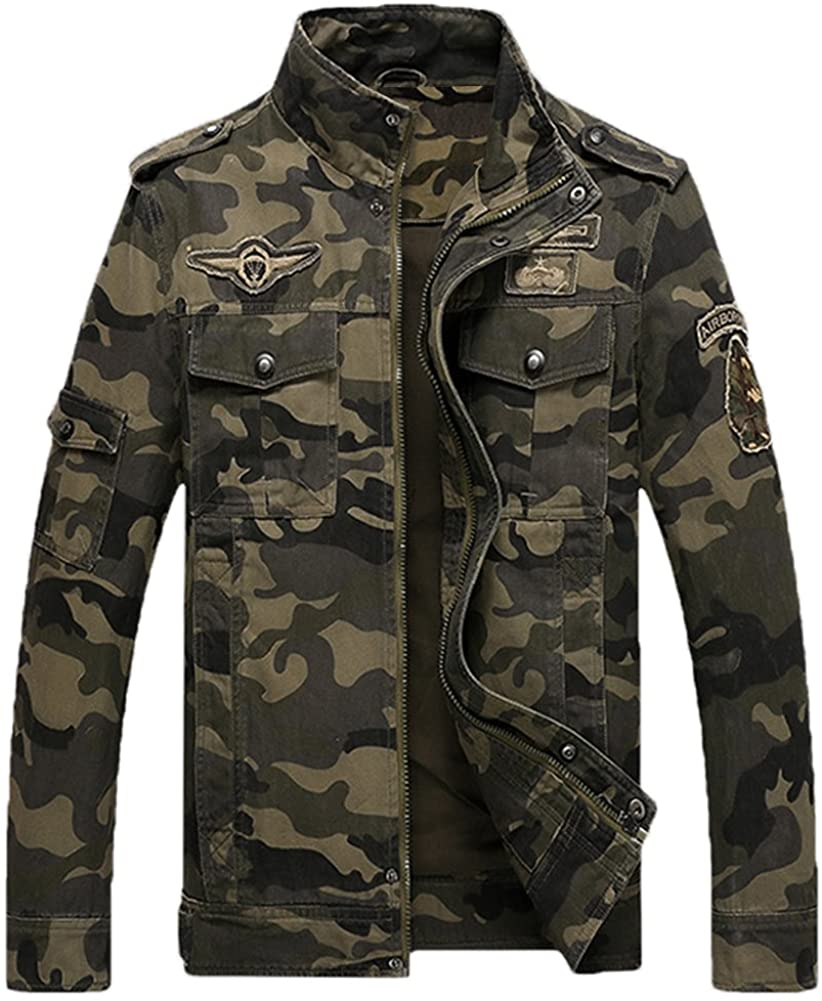 L'ASHER Men's Casual Military Zip Up Button Bomber Jacket Army Coat Cotton Jackets