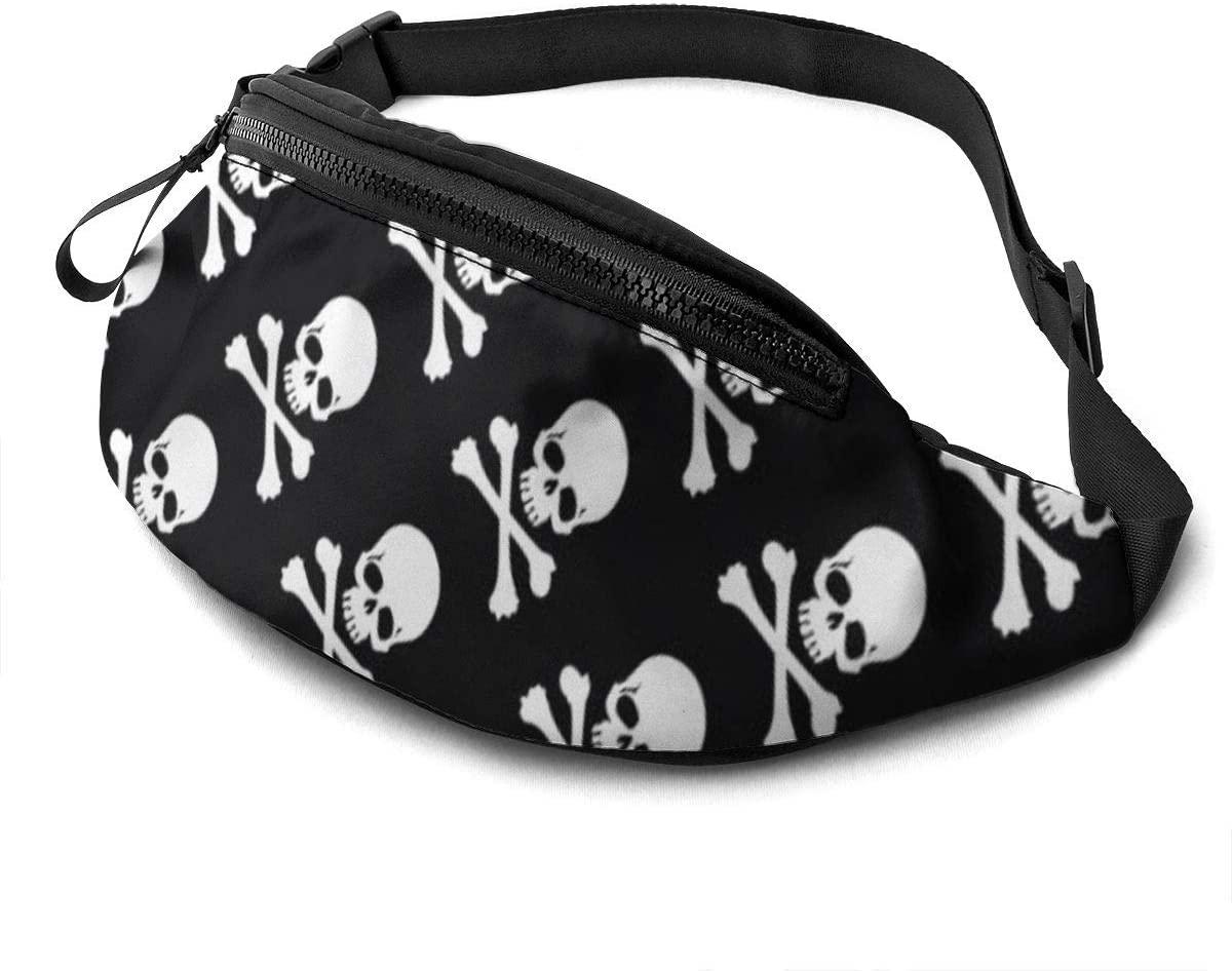 Skull Crossbones Fanny Pack For Men Women Waist Pack Bag With Headphone Jack And Zipper Pockets Adjustable Straps