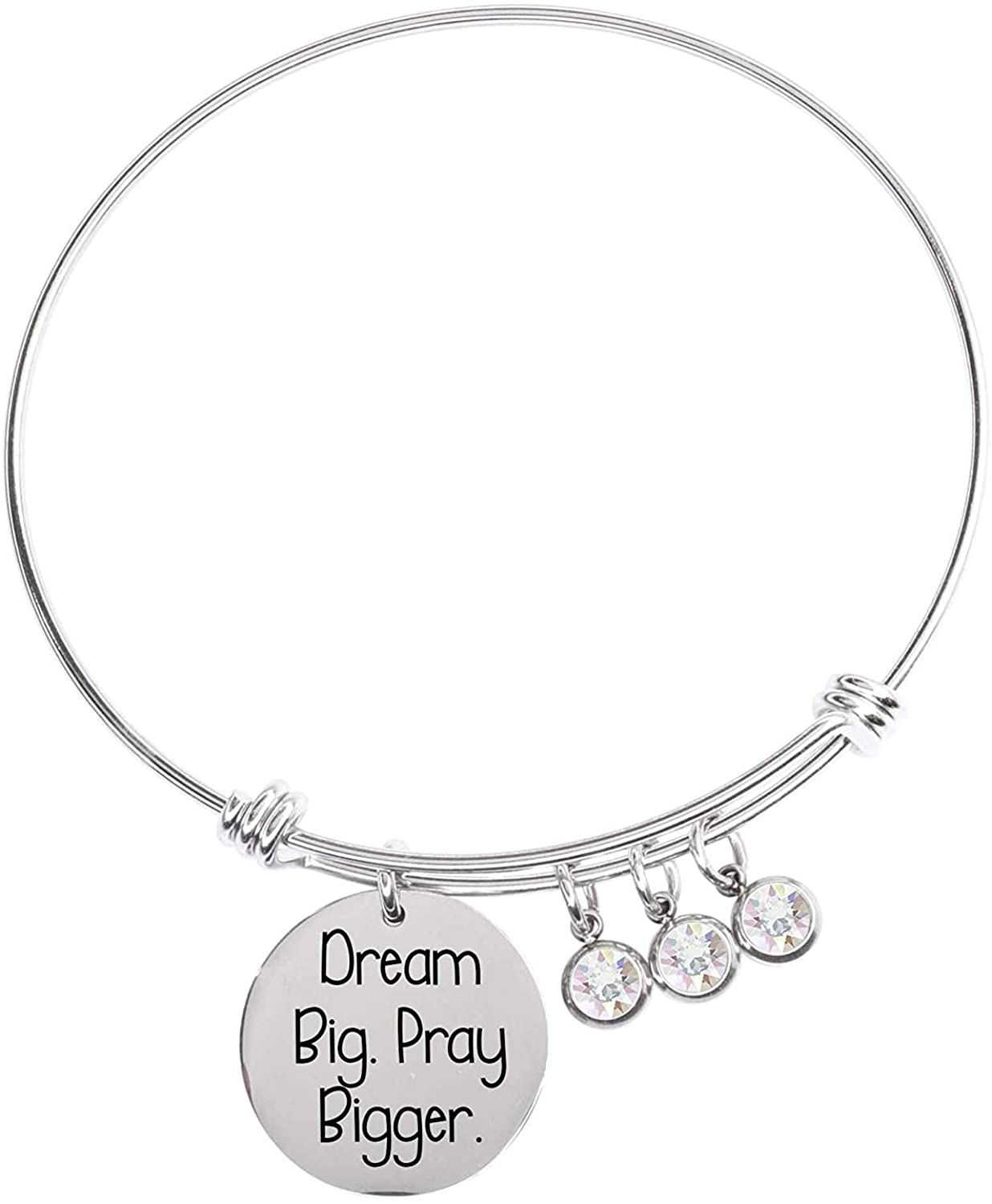 Pink Box Expandable Multi Charm Inspirational Bangles Silver - Dream Big Pray Bigger