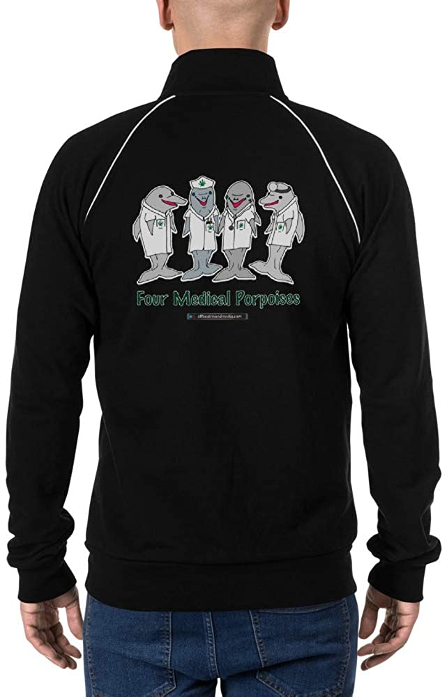 Offbeat Mixed Media Four Medical Porpoises Piped Fleece Jacket