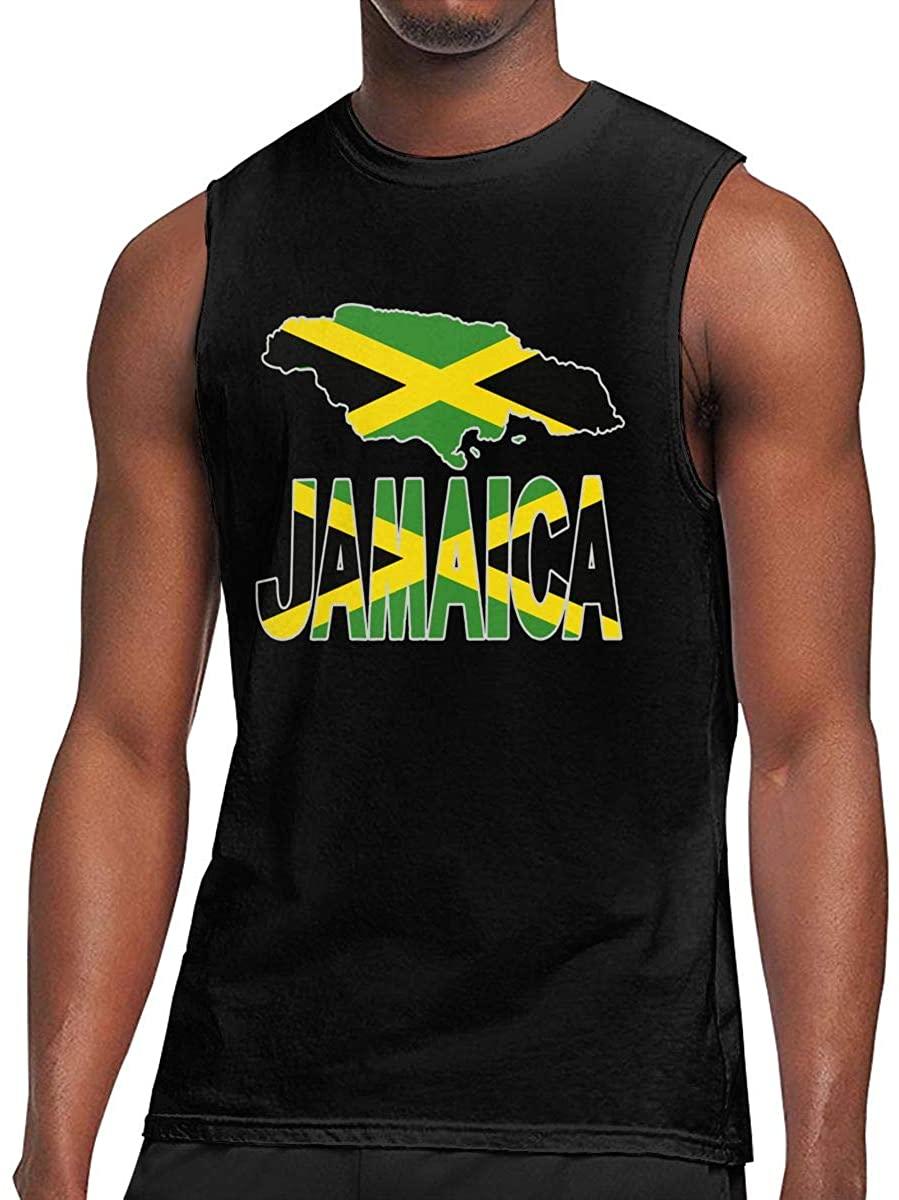 Men's Jamaica Flag with Jamaican Map Tank Top Sleeveless T-Shirts Singlet