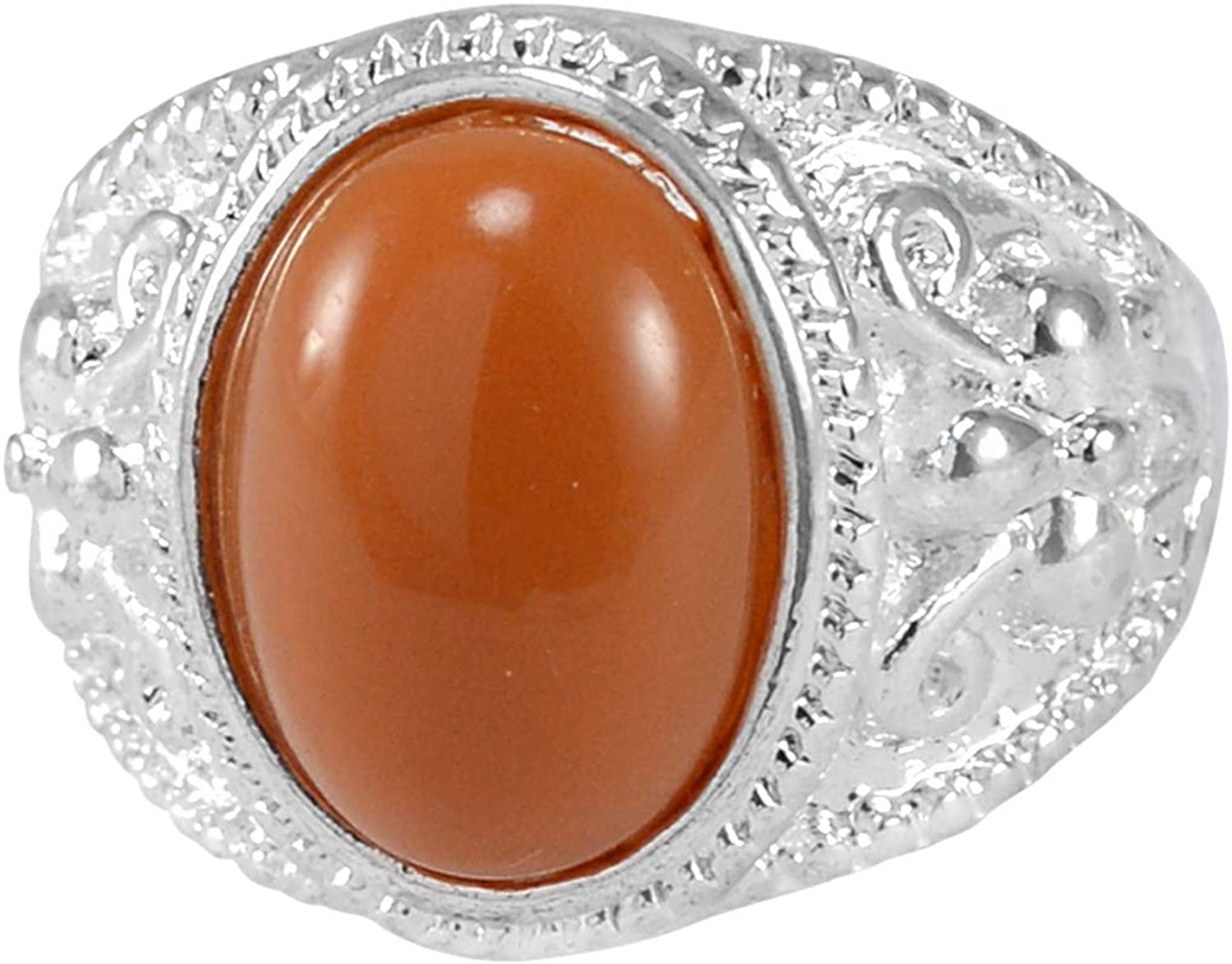 Saamarth Impex Jaipur Rajasthan India 14x10mm Brown Stone with 925 Silver Plated Ring Sz 10.25 Handmade Jewelry Manufacturer