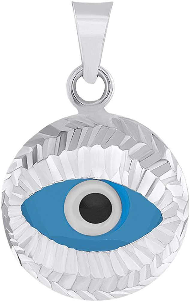 14k White Gold Textured Blue Evil Eye Pendant Protection Charm (18.5 mm x 12.3 mm)