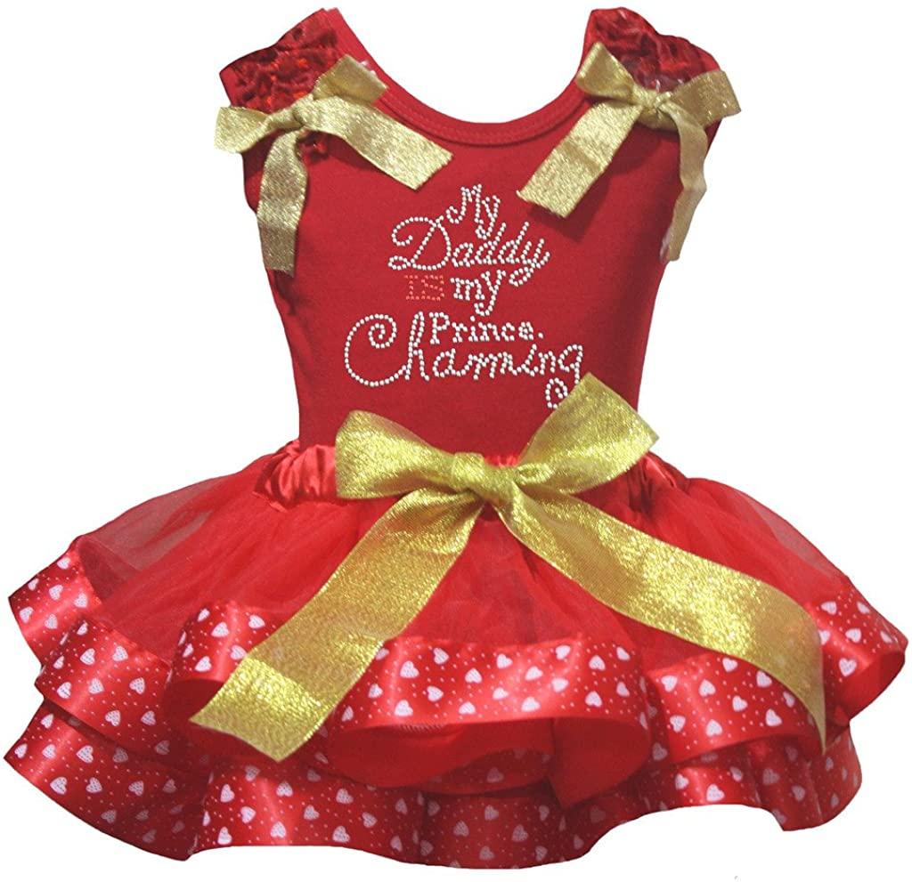Petitebella Daddy is My Prince Shirt Red Valentine Heart Petal Skirt Set Nb-8y